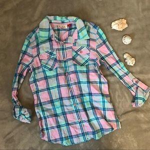 Girls Blue & Pink Plaid Flannel Shirt SO NWT